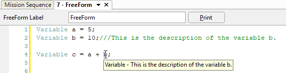 FreeFlyer Descriptions for Variables